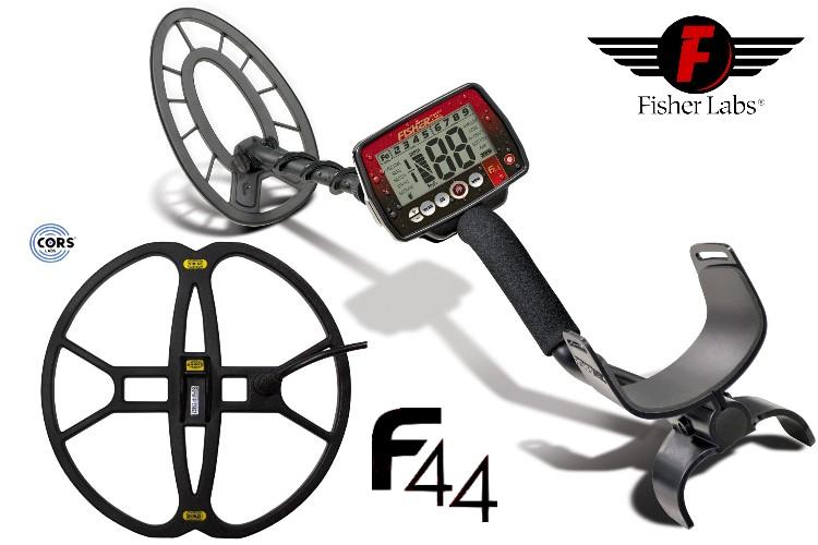 Metalldetektor Premium Ausrüstungspaket Fisher F44 mit CORS Strike Hochleistungsspule